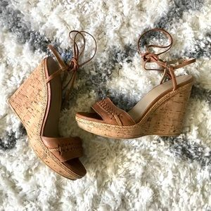 Stuart Weitzman Braided Lace Up Wedge Heel Sandals
